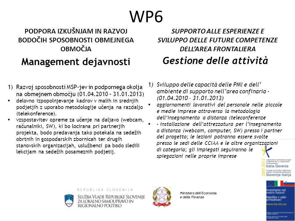 SUPPORTO ALLE ESPERIENZE E SVILUPPO DELLE FUTURE COMPETENZE DELLAREA FRONTALIERA PODPORA IZKUŠNJAM IN RAZVOJ BODOČIH SPOSOBNOSTI OBMEJNEGA OBMOČJA WP6 Management dejavnosti 1)Razvoj sposobnosti MSP-jev in podpornega okolja na obmejnem območju (01.04.2010 – 31.01.2013) delovno izpopolnjevanje kadrov v malih in srednjih podjetjih z uporabo metodologije učenja na razdaljo (telekonference).