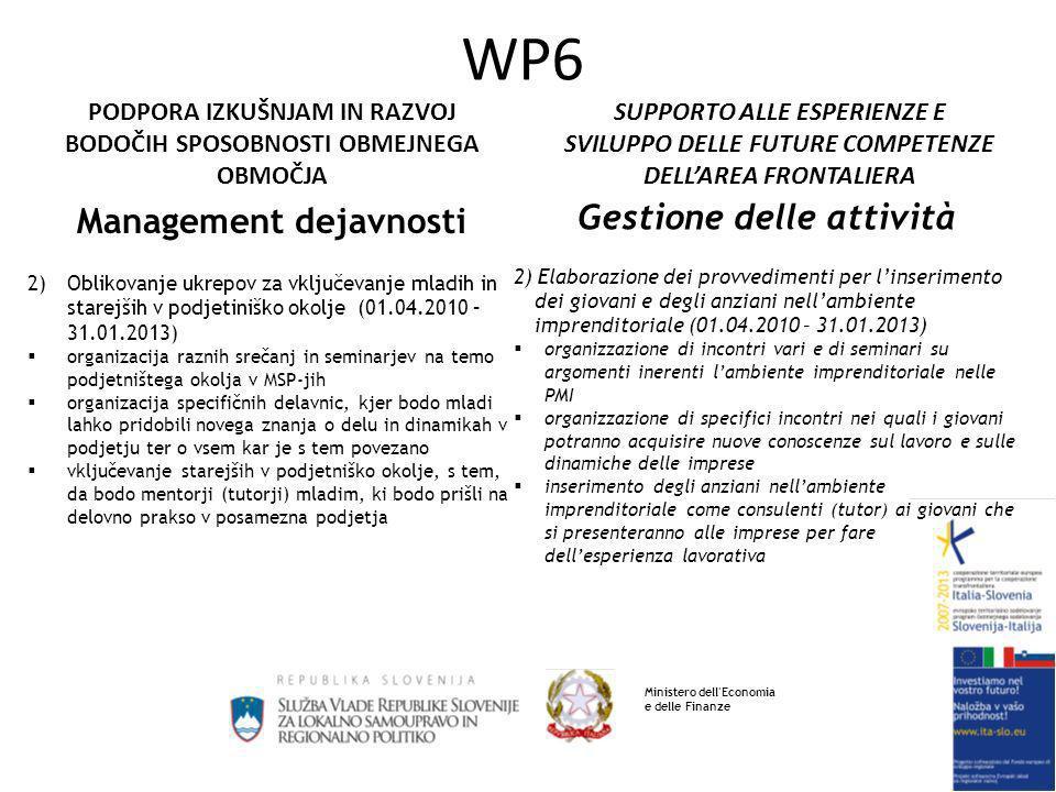 SUPPORTO ALLE ESPERIENZE E SVILUPPO DELLE FUTURE COMPETENZE DELLAREA FRONTALIERA PODPORA IZKUŠNJAM IN RAZVOJ BODOČIH SPOSOBNOSTI OBMEJNEGA OBMOČJA WP6 Management dejavnosti 2)Oblikovanje ukrepov za vključevanje mladih in starejših v podjetiniško okolje (01.04.2010 – 31.01.2013) organizacija raznih srečanj in seminarjev na temo podjetništega okolja v MSP-jih organizacija specifičnih delavnic, kjer bodo mladi lahko pridobili novega znanja o delu in dinamikah v podjetju ter o vsem kar je s tem povezano vključevanje starejših v podjetniško okolje, s tem, da bodo mentorji (tutorji) mladim, ki bodo prišli na delovno prakso v posamezna podjetja Gestione delle attività 2) Elaborazione dei provvedimenti per linserimento dei giovani e degli anziani nellambiente imprenditoriale (01.04.2010 – 31.01.2013) organizzazione di incontri vari e di seminari su argomenti inerenti lambiente imprenditoriale nelle PMI organizzazione di specifici incontri nei quali i giovani potranno acquisire nuove conoscenze sul lavoro e sulle dinamiche delle imprese inserimento degli anziani nellambiente imprenditoriale come consulenti (tutor) ai giovani che si presenteranno alle imprese per fare dellesperienza lavorativa Ministero dell Economia e delle Finanze