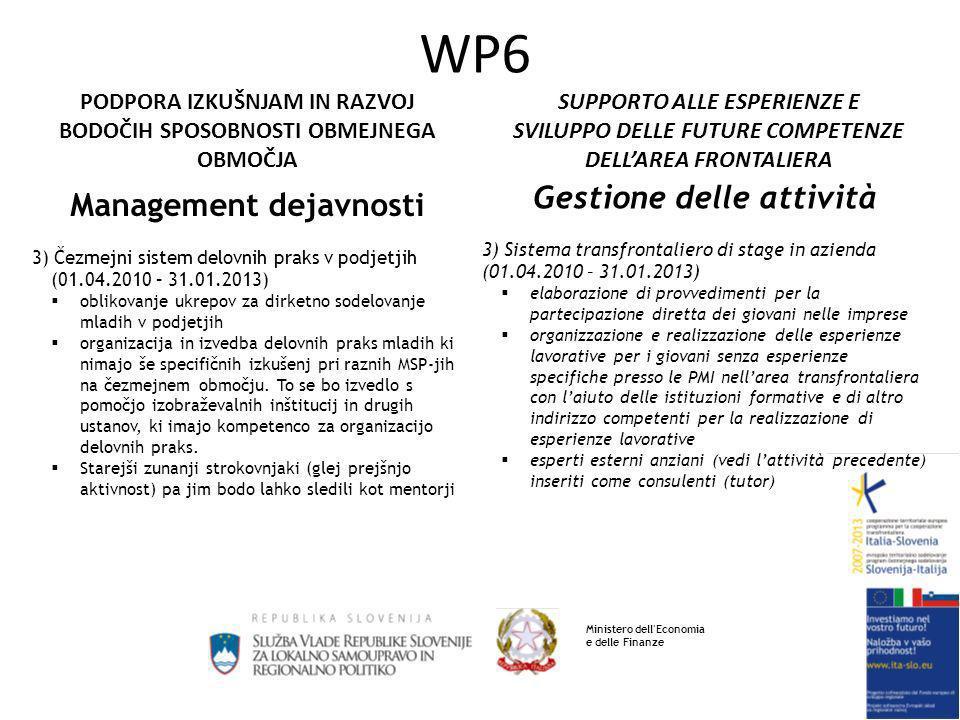 SUPPORTO ALLE ESPERIENZE E SVILUPPO DELLE FUTURE COMPETENZE DELLAREA FRONTALIERA PODPORA IZKUŠNJAM IN RAZVOJ BODOČIH SPOSOBNOSTI OBMEJNEGA OBMOČJA WP6 Pričakovani rezultati 1)Razvoj sposobnosti MSP-jev in podpornega okolja na obmejnem območju izvedba vsaj 5 izobraževalnih modulov (v razredu in on line), izmed katerih naj bodo 3 poskusni moduli izobraževanja on line 2) oblikovanje ukrepov za vključevanje mladih in starejših v podjetniško okolje vključitev vsaj 120 oseb, ki bodo sodelovale pri srečanjih in seminarjih 3) Čezmejni sistem delovnih praks Realizacija delovnih praks in seminarjev Risultati attesi 1) Sviluppo delle capacità delle PMI e dell ambiente di supporto nellarea confinaria realizzazione di almeno 5 moduli di formazione /aggiornamento (in classe e on-line), tra i quali almeno 3 moduli sperimentali di formazione on line 2) elaborazione dei provvedimenti per linserimento dei giovani e degli anziani nellambiente imprenditoriale coinvolgimento di almeno 120 persone che parteciperanno agli incontri ed ai seminari 3) sistema transfrontaliero di stage in azienda Realizzazione di stage e seminari Ministero dell Economia e delle Finanze