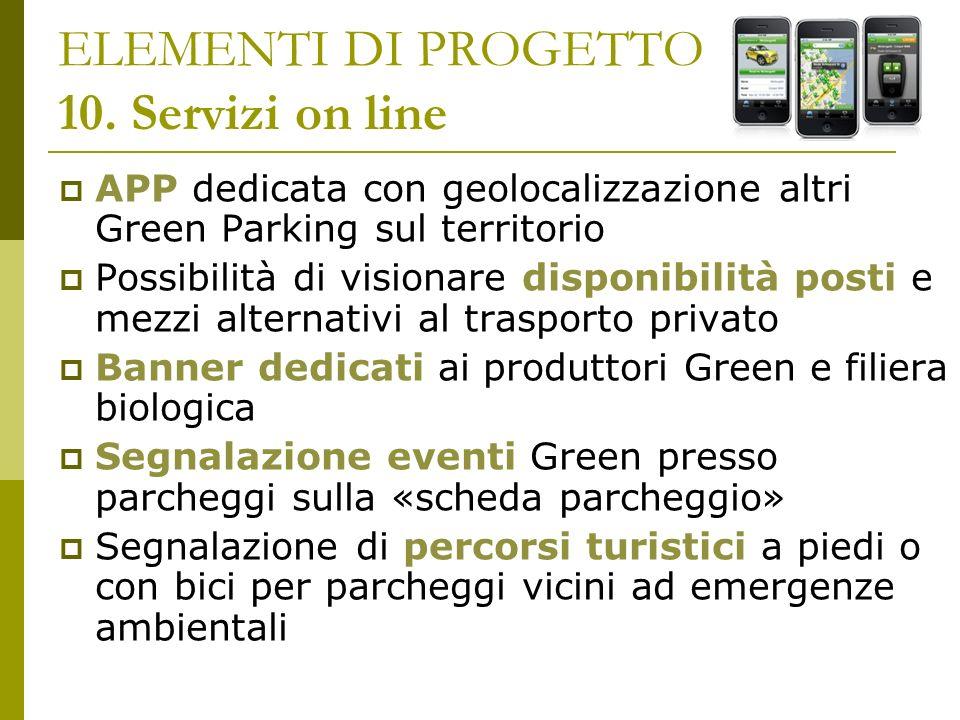 ELEMENTI DI PROGETTO 10. Servizi on line APP dedicata con geolocalizzazione altri Green Parking sul territorio Possibilità di visionare disponibilità