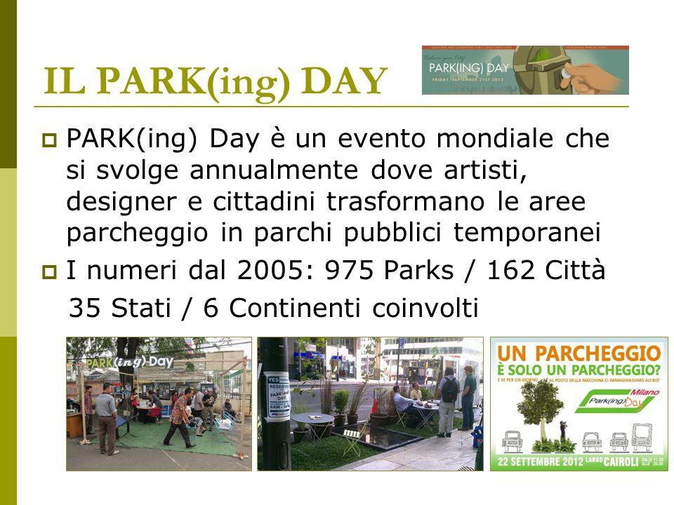 PARK(ing) Day è un evento mondiale che si svolge annualmente dove artisti, designer e cittadini trasformano le aree parcheggio in parchi pubblici temp
