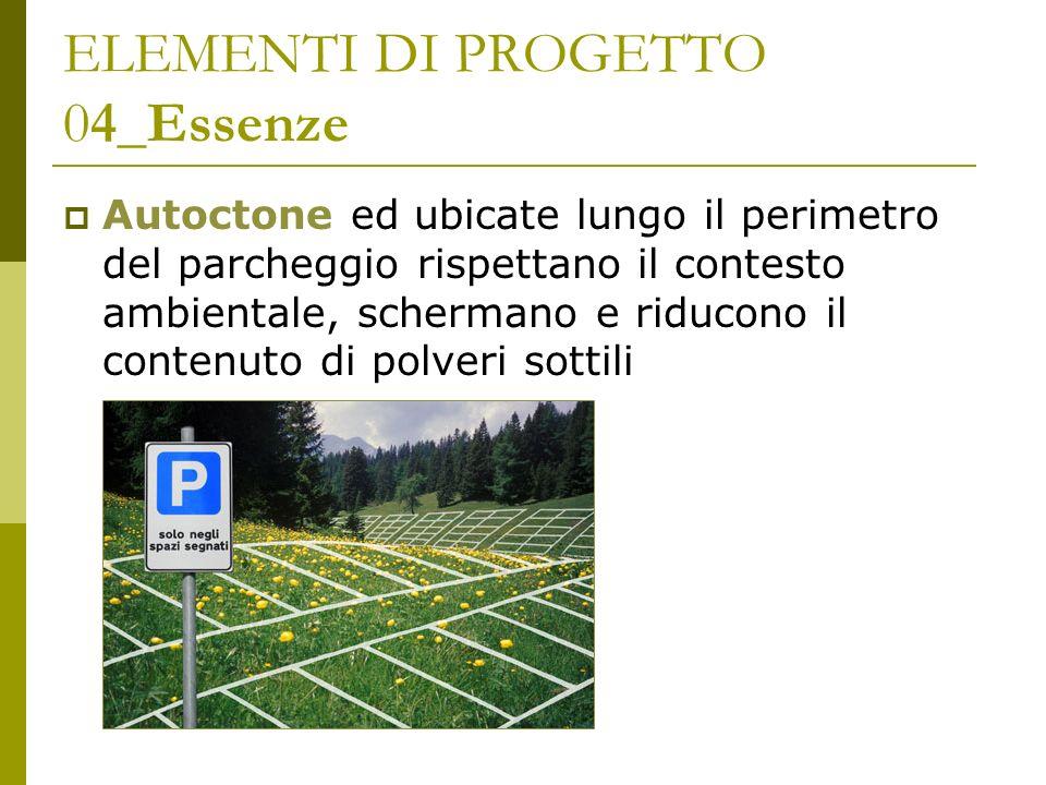 ELEMENTI DI PROGETTO 04_Essenze Autoctone ed ubicate lungo il perimetro del parcheggio rispettano il contesto ambientale, schermano e riducono il cont
