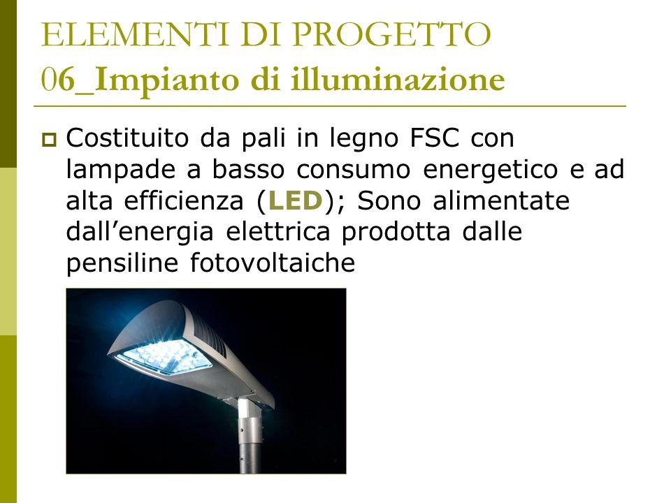 ELEMENTI DI PROGETTO 06_Impianto di illuminazione Costituito da pali in legno FSC con lampade a basso consumo energetico e ad alta efficienza (LED); S