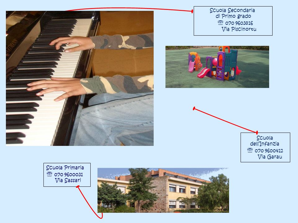 Scuola dellInfanzia 070 9600412 Via Garau Scuola Primaria 070 9600031 Via Sassari Scuola Secondaria di Primo grado 070 9603816 Via Piscinortu