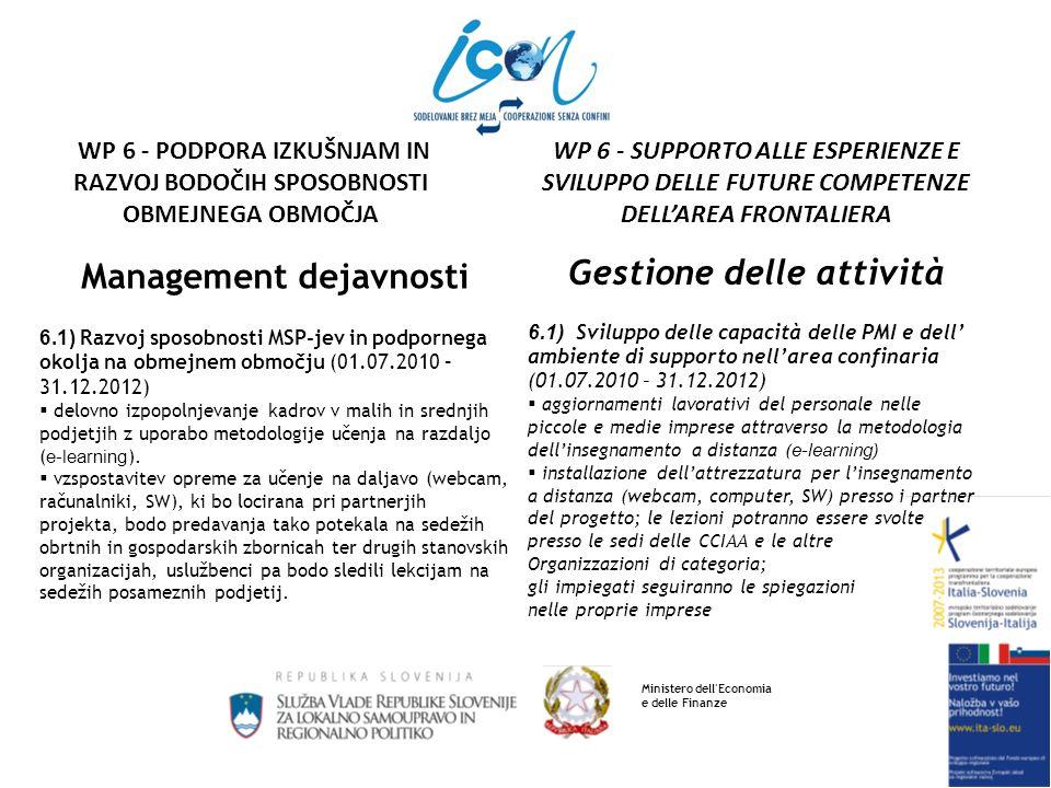 Management dejavnosti 6.1) Razvoj sposobnosti MSP-jev in podpornega okolja na obmejnem območju izvedba vsaj 5 izobraževalnih modulov (v razredu in on-line), izmed katerih naj bodo vsaj 3 poskusni moduli izobraževanja on-line – zaradi problematike državnih pomoči se predlaga, da bi bilo kar vseh 5 modulov on-line uporaba e-learning sistema ECIPA-CNA Veneto na platformi Moodle (Matteo Povolato) Gestione delle attività 6.1) Sviluppo delle capacità delle PMI e dell ambiente di supporto nellarea confinaria realizzazione di almeno 5 moduli di formazione/aggiornamento (in classe e on-line), tra i quali almeno 3 moduli sperimentali di formazione on- line - a causa della problematica degli aiuti di stato si propone di realizzare tutti e 5 i moduli in modalita on-line uso del sistema e-learning ECIPA-CNA Veneto su piattaforma Moodle (Matteo Povolato) Ministero dell Economia e delle Finanze WP 6 - SUPPORTO ALLE ESPERIENZE E SVILUPPO DELLE FUTURE COMPETENZE DELLAREA FRONTALIERA WP 6 - PODPORA IZKUŠNJAM IN RAZVOJ BODOČIH SPOSOBNOSTI OBMEJNEGA OBMOČJA