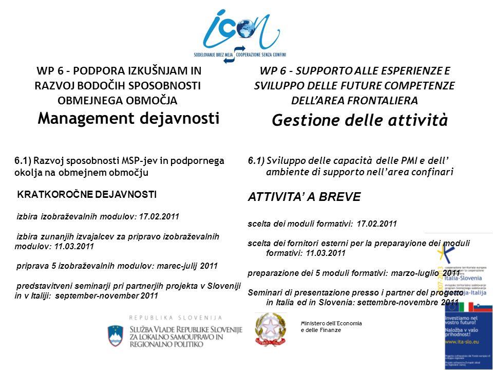 Management dejavnosti 6.2) Oblikovanje ukrepov za vključevanje mladih in starejših v podjetniško okolje (01.07.2010 – 31.12.2012) organizacija raznih srečanj in seminarjev na temo podjetništega okolja v MSP-jih organizacija specifičnih delavnic, kjer bodo mladi lahko pridobili novega znanja o delu in dinamikah v podjetju ter o vsem kar je s tem povezano vključevanje starejših v podjetniško okolje, s tem, da bodo mentorji (tutorji) mladim, ki bodo prišli na delovno prakso v posamezna podjetja Gestione delle attività 6.2) Elaborazione dei provvedimenti per linserimento dei giovani e degli anziani nellambiente imprenditoriale (01.07.2010 – 31.12.2012) organizzazione di incontri vari e di seminari su argomenti inerenti lambiente imprenditoriale nelle PMI organizzazione di specifici incontri nei quali i giovani potranno acquisire nuove conoscenze sul lavoro e sulle dinamiche delle imprese inserimento degli anziani nellambiente imprenditoriale come consulenti (tutor) ai giovani che si presenteranno alle imprese per fare dellesperienza lavorativa Ministero dell Economia e delle Finanze WP 6 - SUPPORTO ALLE ESPERIENZE E SVILUPPO DELLE FUTURE COMPETENZE DELLAREA FRONTALIERA WP 6 - PODPORA IZKUŠNJAM IN RAZVOJ BODOČIH SPOSOBNOSTI OBMEJNEGA OBMOČJA