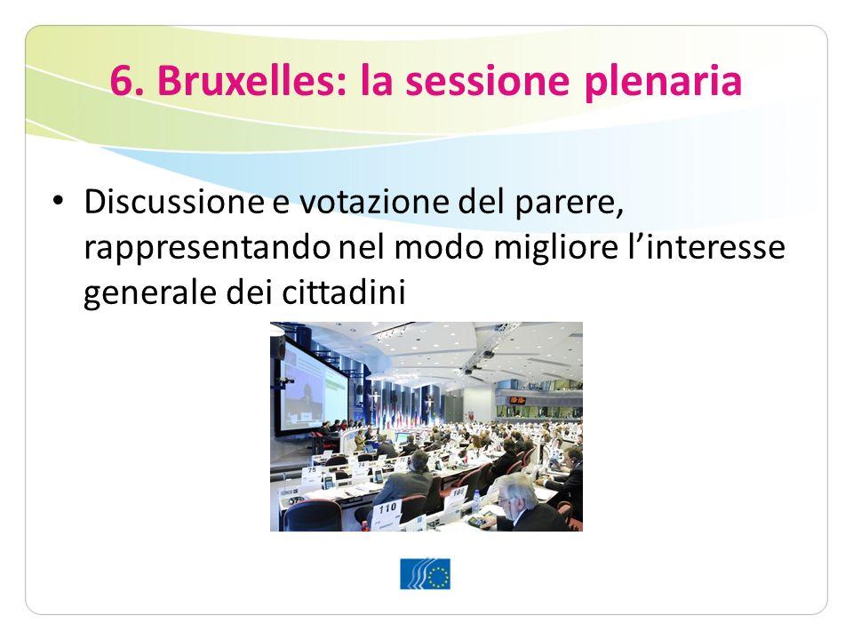6. Bruxelles: la sessione plenaria Discussione e votazione del parere, rappresentando nel modo migliore linteresse generale dei cittadini