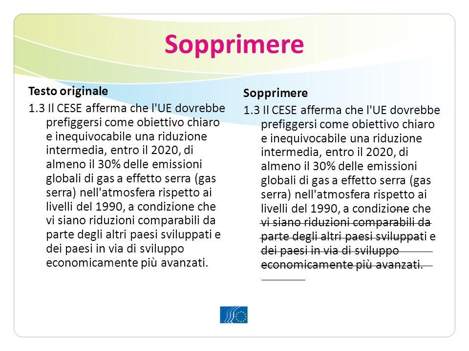 Sopprimere Testo originale 1.3 Il CESE afferma che l UE dovrebbe prefiggersi come obiettivo chiaro e inequivocabile una riduzione intermedia, entro il 2020, di almeno il 30% delle emissioni globali di gas a effetto serra (gas serra) nell atmosfera rispetto ai livelli del 1990, a condizione che vi siano riduzioni comparabili da parte degli altri paesi sviluppati e dei paesi in via di sviluppo economicamente più avanzati.