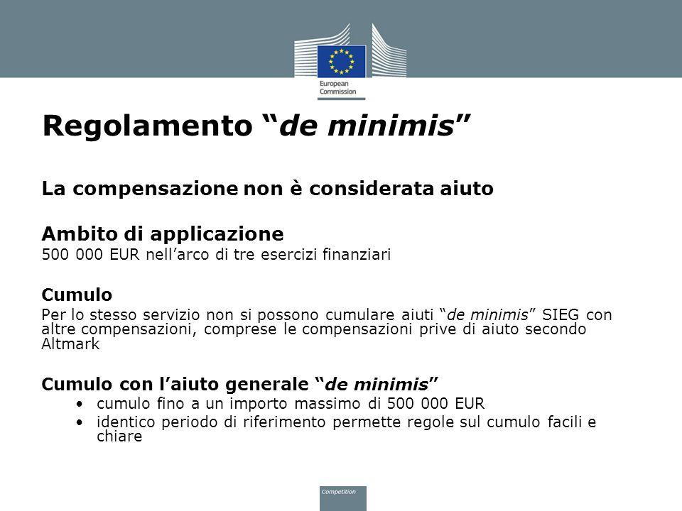 Regolamento de minimis La compensazione non è considerata aiuto Ambito di applicazione 500 000 EUR nellarco di tre esercizi finanziari Cumulo Per lo s