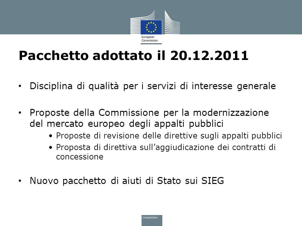Pacchetto adottato il 20.12.2011 Disciplina di qualità per i servizi di interesse generale Proposte della Commissione per la modernizzazione del merca