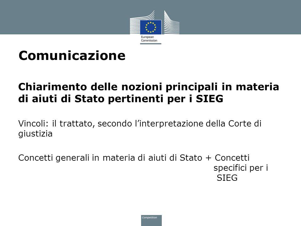 Comunicazione Chiarimento delle nozioni principali in materia di aiuti di Stato pertinenti per i SIEG Vincoli: il trattato, secondo linterpretazione d