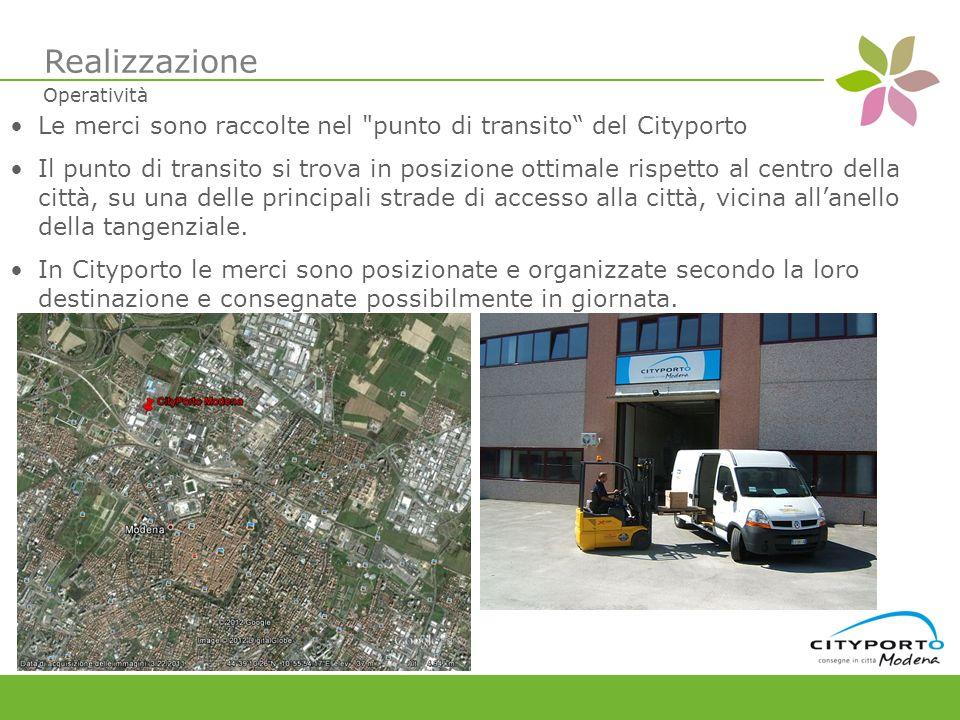 Le merci sono raccolte nel punto di transito del Cityporto Il punto di transito si trova in posizione ottimale rispetto al centro della città, su una delle principali strade di accesso alla città, vicina allanello della tangenziale.