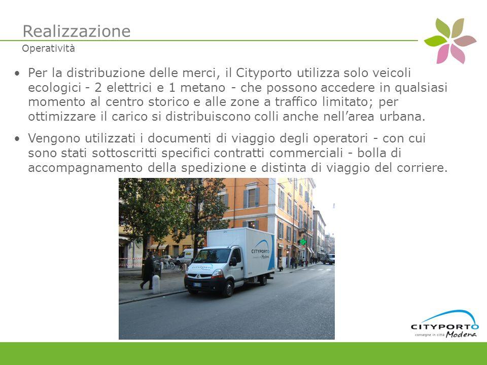 Per la distribuzione delle merci, il Cityporto utilizza solo veicoli ecologici - 2 elettrici e 1 metano - che possono accedere in qualsiasi momento al centro storico e alle zone a traffico limitato; per ottimizzare il carico si distribuiscono colli anche nellarea urbana.