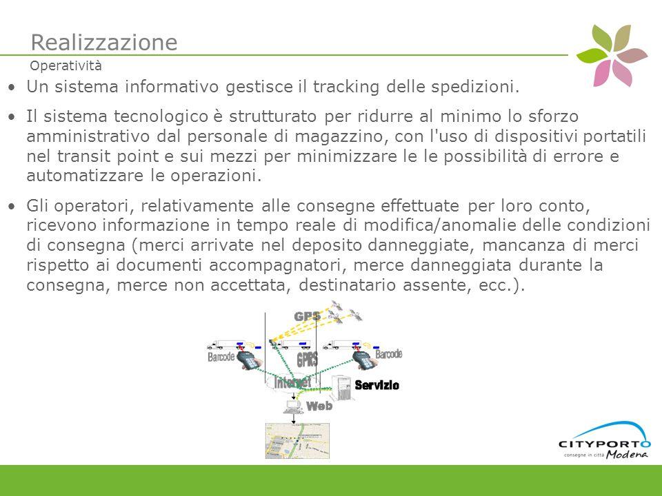 Un sistema informativo gestisce il tracking delle spedizioni.