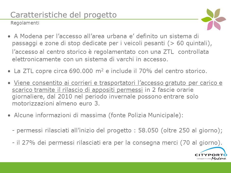 A Modena per laccesso allarea urbana e definito un sistema di passaggi e zone di stop dedicate per i veicoli pesanti (> 60 quintali), laccesso al centro storico è regolamentato con una ZTL controllata elettronicamente con un sistema di varchi in accesso.