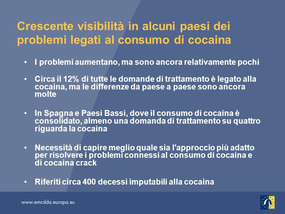 Crescente visibilità in alcuni paesi dei problemi legati al consumo di cocaina I problemi aumentano, ma sono ancora relativamente pochi Circa il 12% di tutte le domande di trattamento è legato alla cocaina, ma le differenze da paese a paese sono ancora molte In Spagna e Paesi Bassi, dove il consumo di cocaina è consolidato, almeno una domanda di trattamento su quattro riguarda la cocaina Necessità di capire meglio quale sia l approccio più adatto per risolvere i problemi connessi al consumo di cocaina e di cocaina crack Riferiti circa 400 decessi imputabili alla cocaina