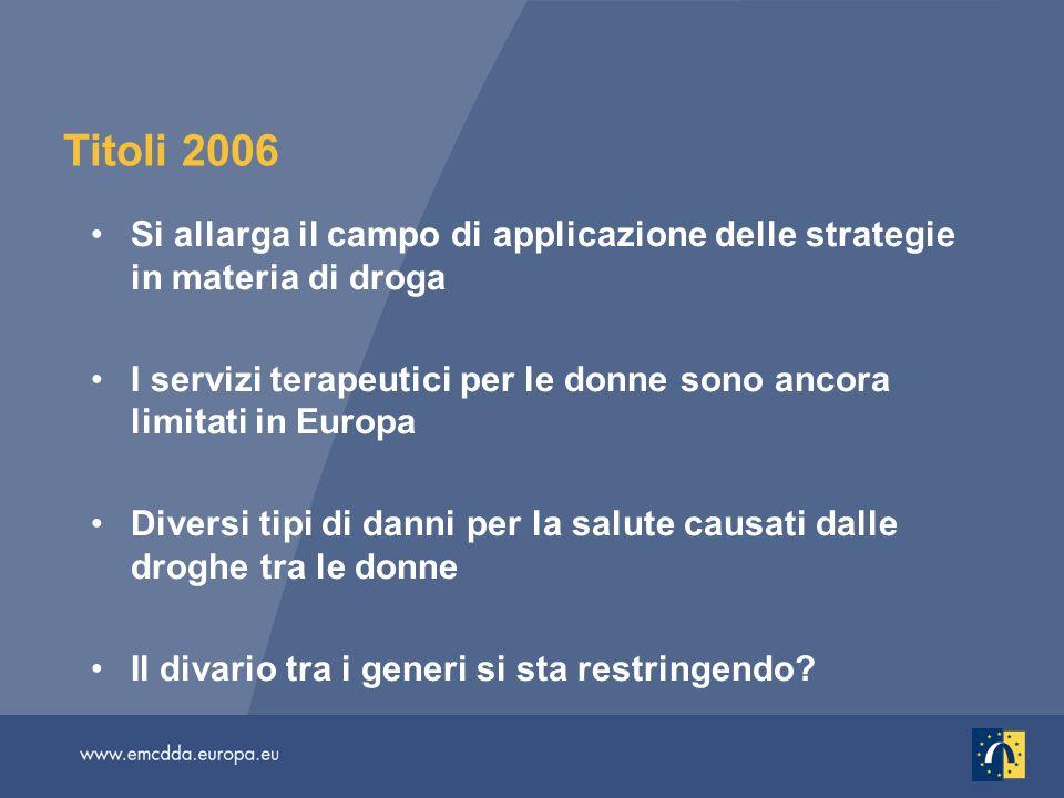 Titoli 2006 Si allarga il campo di applicazione delle strategie in materia di droga I servizi terapeutici per le donne sono ancora limitati in Europa Diversi tipi di danni per la salute causati dalle droghe tra le donne Il divario tra i generi si sta restringendo