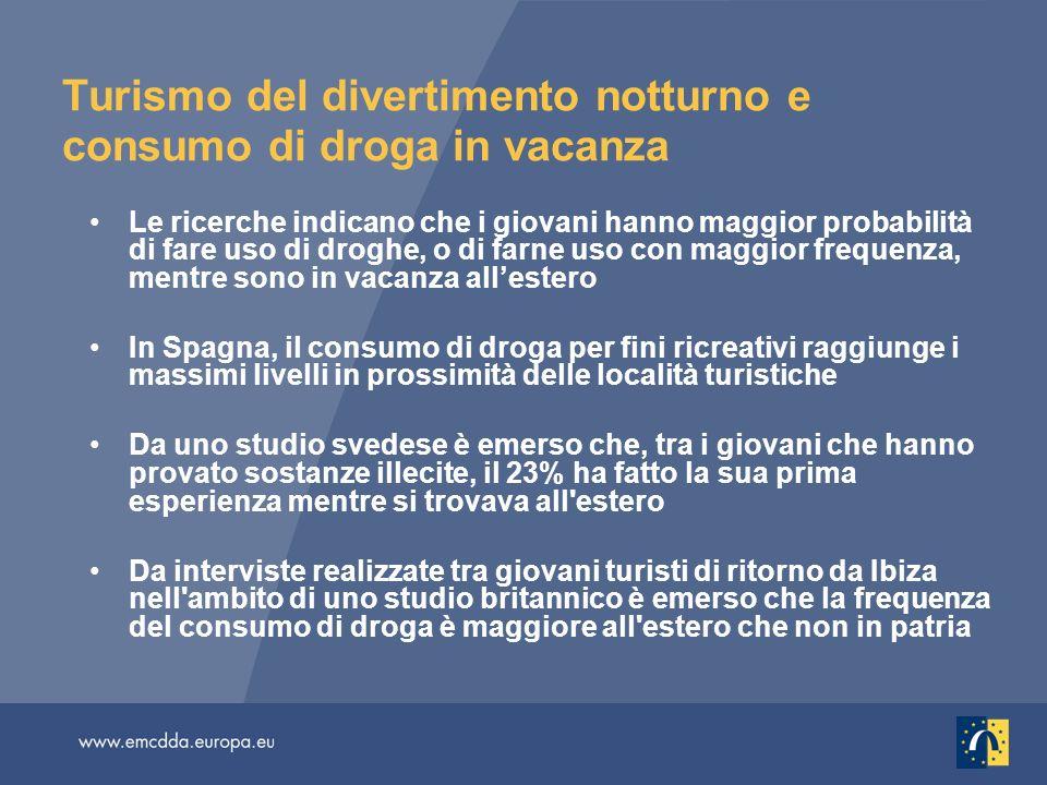 Turismo del divertimento notturno e consumo di droga in vacanza Le ricerche indicano che i giovani hanno maggior probabilità di fare uso di droghe, o