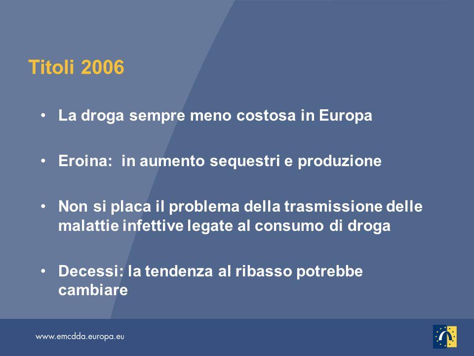 Titoli 2006 La droga sempre meno costosa in Europa Eroina: in aumento sequestri e produzione Non si placa il problema della trasmissione delle malattie infettive legate al consumo di droga Decessi: la tendenza al ribasso potrebbe cambiare