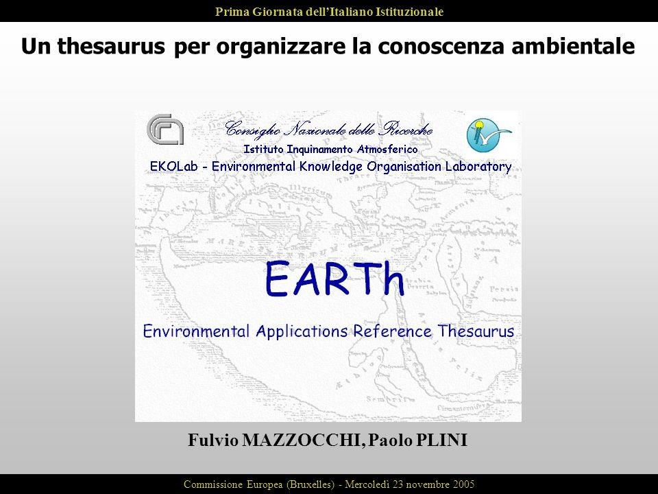Un thesaurus per organizzare la conoscenza ambientale Fulvio MAZZOCCHI, Paolo PLINI Prima Giornata dellItaliano Istituzionale Commissione Europea (Bru