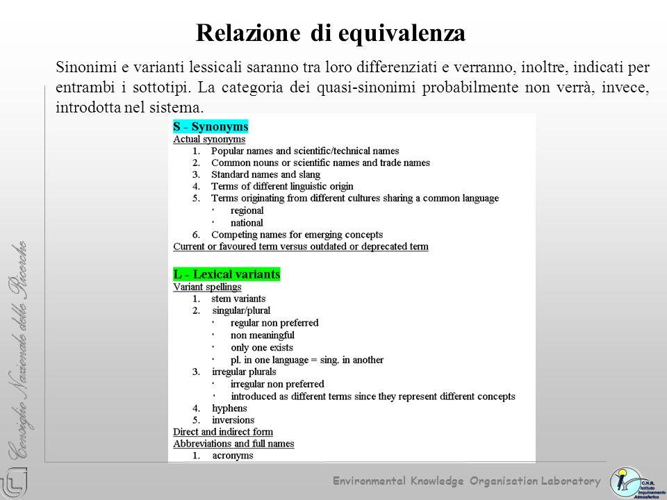 Relazione di equivalenza Sinonimi e varianti lessicali saranno tra loro differenziati e verranno, inoltre, indicati per entrambi i sottotipi. La categ