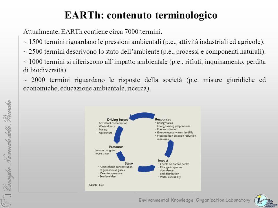 EARTh: contenuto terminologico Attualmente, EARTh contiene circa 7000 termini. ~ 1500 termini riguardano le pressioni ambientali (p.e., attività indus