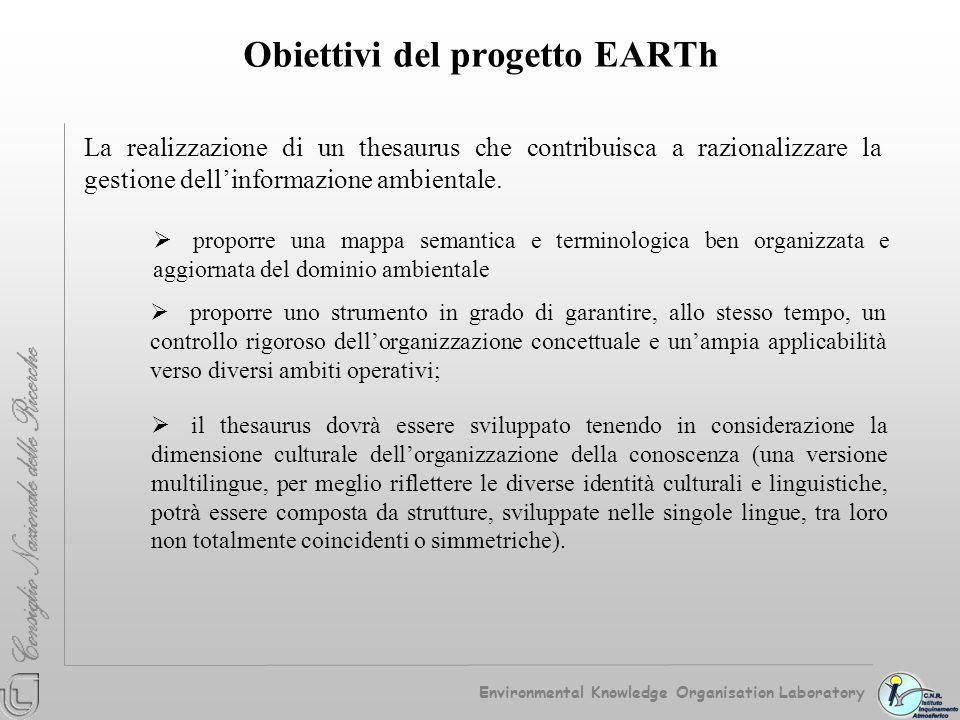 EARTh Environmental Applications Reference Thesaurus Struttura sistematica Relazioni semantiche Versioni applicative Contenuto terminologico Environmental Knowledge Organisation Laboratory