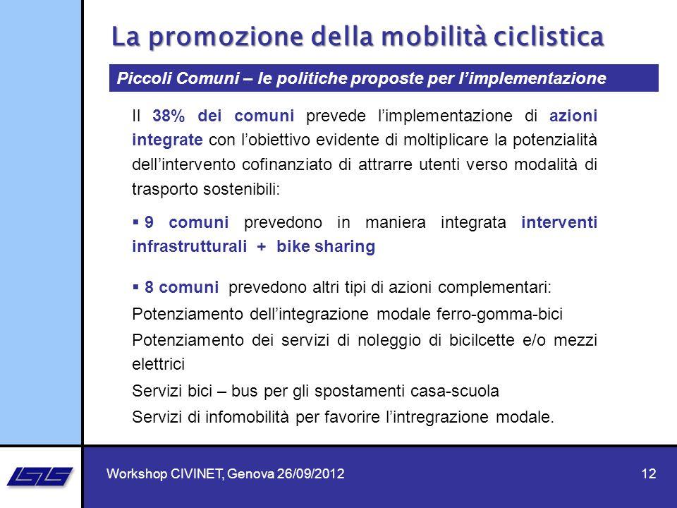 12 9 comuni prevedono in maniera integrata interventi infrastrutturali + bike sharing 8 comuni prevedono altri tipi di azioni complementari: Potenziam