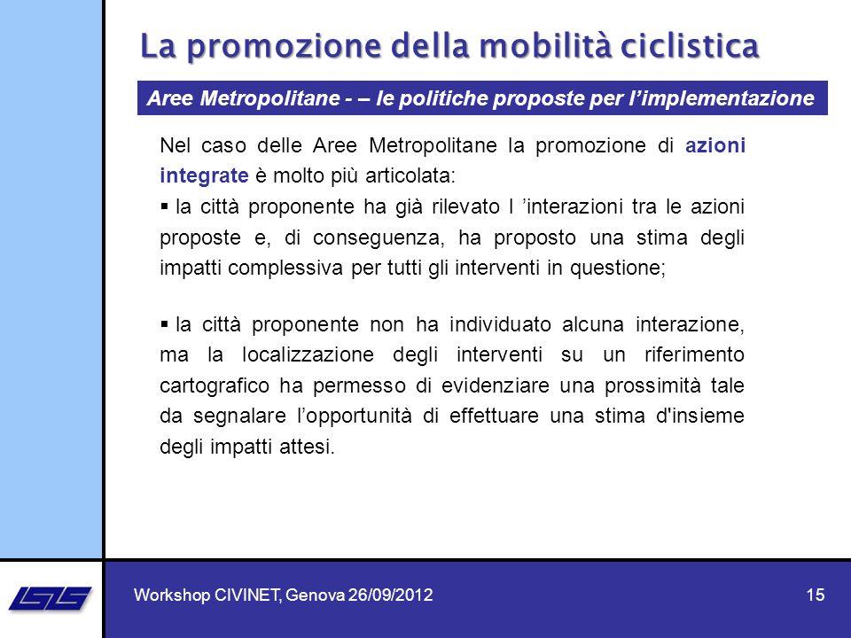 15 Aree Metropolitane - – le politiche proposte per limplementazione La promozione della mobilità ciclistica Nel caso delle Aree Metropolitane la prom