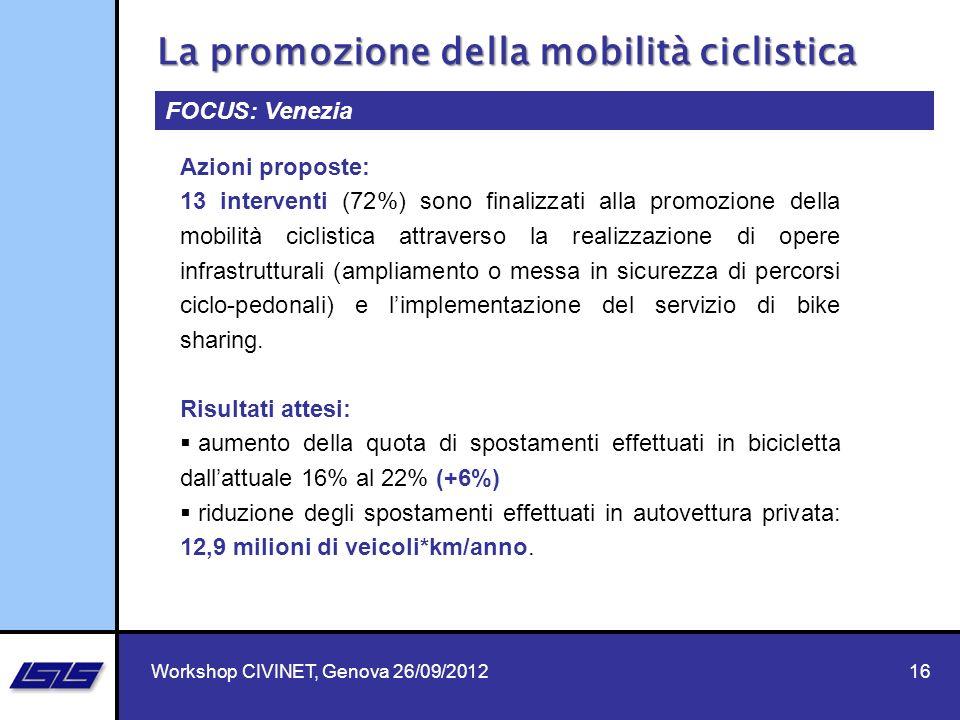 16 FOCUS: Venezia Azioni proposte: 13 interventi (72%) sono finalizzati alla promozione della mobilità ciclistica attraverso la realizzazione di opere