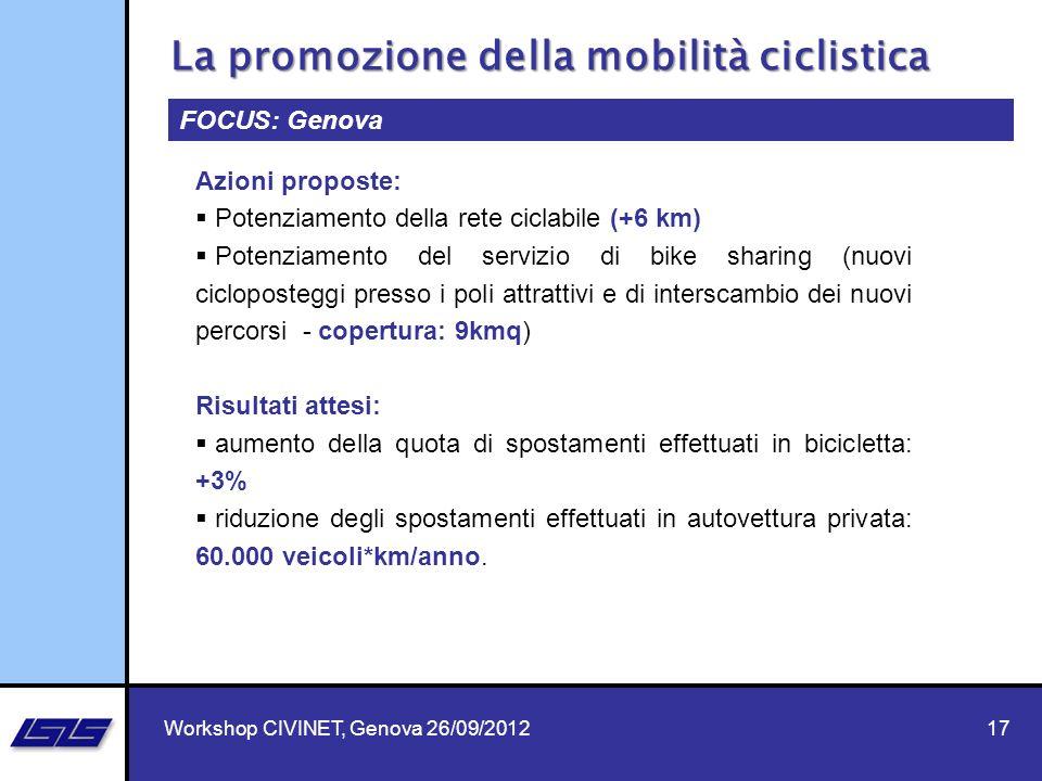 17 FOCUS: Genova Azioni proposte: Potenziamento della rete ciclabile (+6 km) Potenziamento del servizio di bike sharing (nuovi cicloposteggi presso i