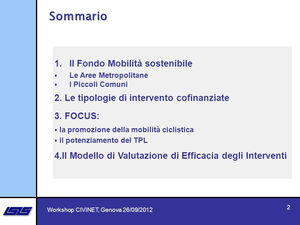 1.Il Fondo Mobilità sostenibile Le Aree Metropolitane I Piccoli Comuni 2. Le tipologie di intervento cofinanziate 3. FOCUS: la promozione della mobili