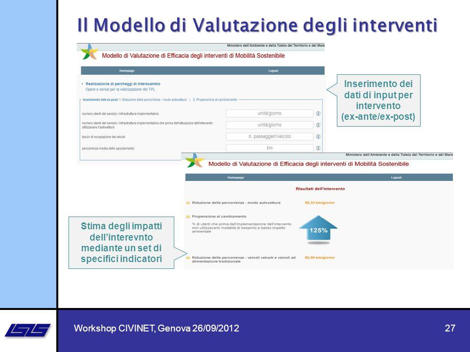 27 Il Modello di Valutazione degli interventi Inserimento dei dati di input per intervento (ex-ante/ex-post) Stima degli impatti dellinterevnto median