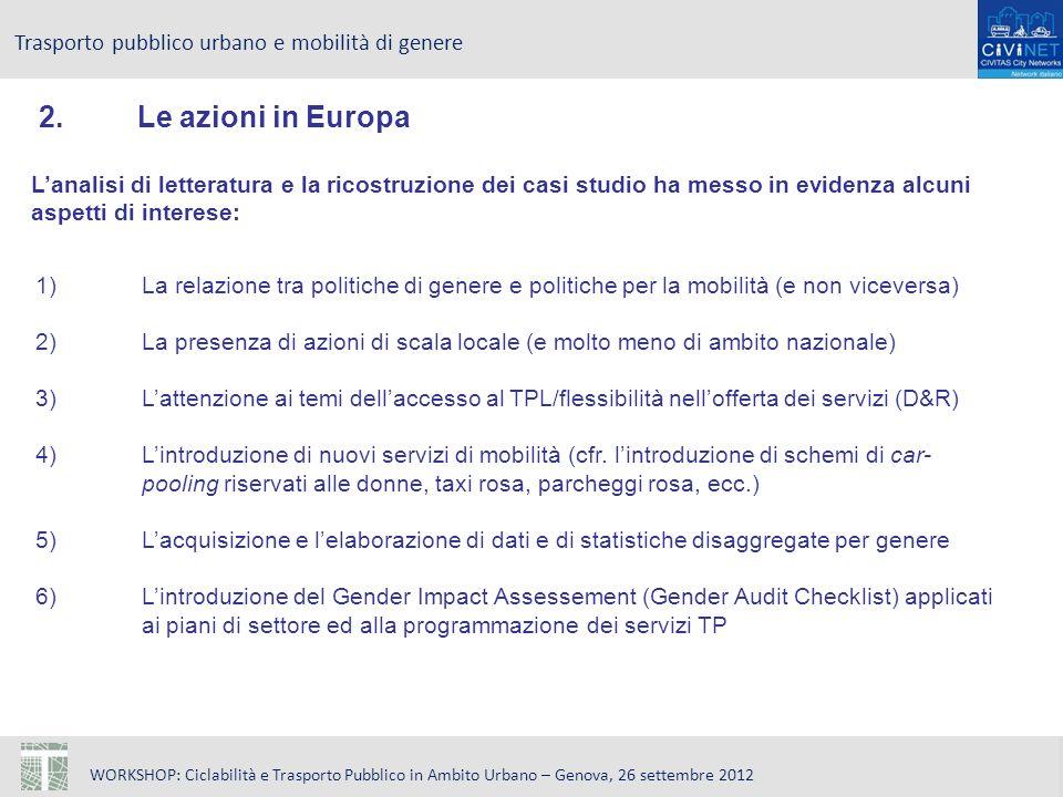WORKSHOP: Ciclabilità e Trasporto Pubblico in Ambito Urbano – Genova, 26 settembre 2012 Trasporto pubblico urbano e mobilità di genere 2.Le azioni in