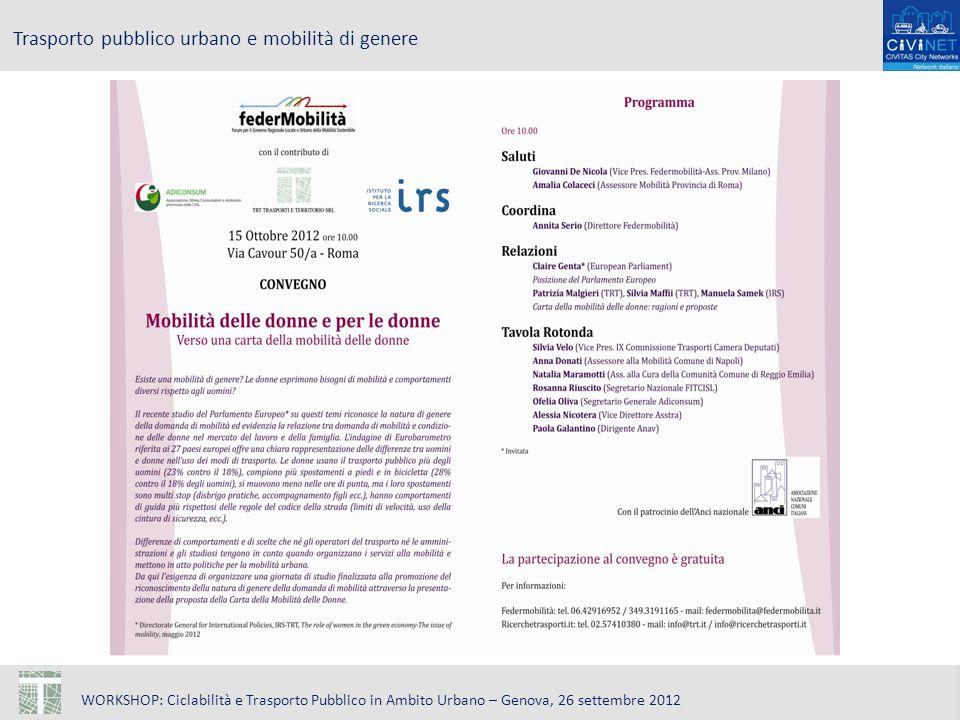 WORKSHOP: Ciclabilità e Trasporto Pubblico in Ambito Urbano – Genova, 26 settembre 2012 Trasporto pubblico urbano e mobilità di genere