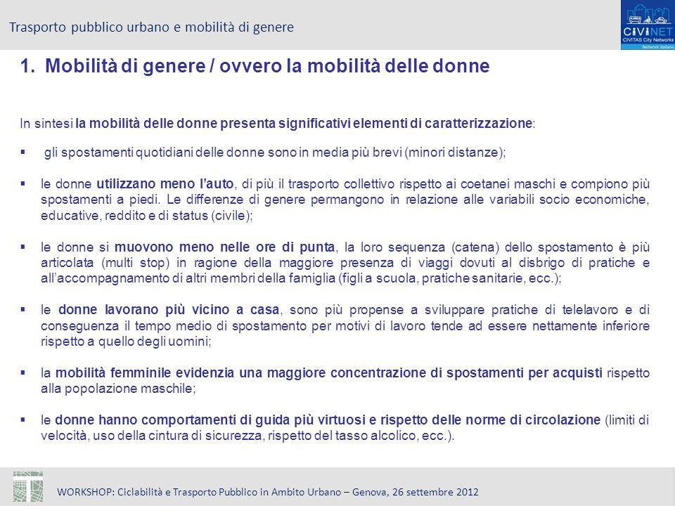 WORKSHOP: Ciclabilità e Trasporto Pubblico in Ambito Urbano – Genova, 26 settembre 2012 Trasporto pubblico urbano e mobilità di genere 1.Mobilità di g