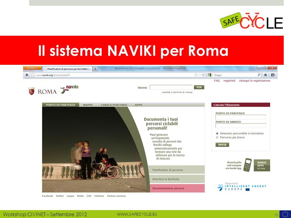 WWW.SAFECYCLE.EU MOTECHECO, 2012 Workshop CIVINET – Settembre 2012 Il sistema NAVIKI per Roma 30