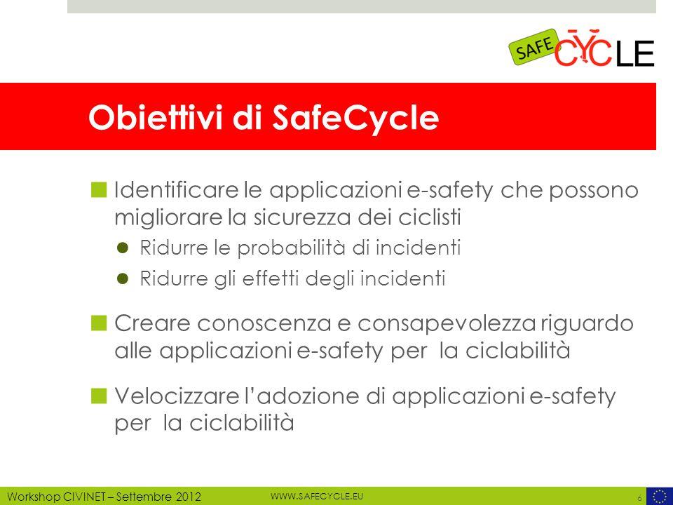 WWW.SAFECYCLE.EU MOTECHECO, 2012 Workshop CIVINET – Settembre 2012 Light Lane Bicycle Morti = 75 / Feriti = 2.684 / Incidenti = 2.809 CRF: - 40% morti / - 40% feriti / - 40% incidenti Benefici = 1.969 m Implementazione: 405 m/anno Manutenzione: 40,5 m/anno Costi = 717 m CBA = 2,74 27