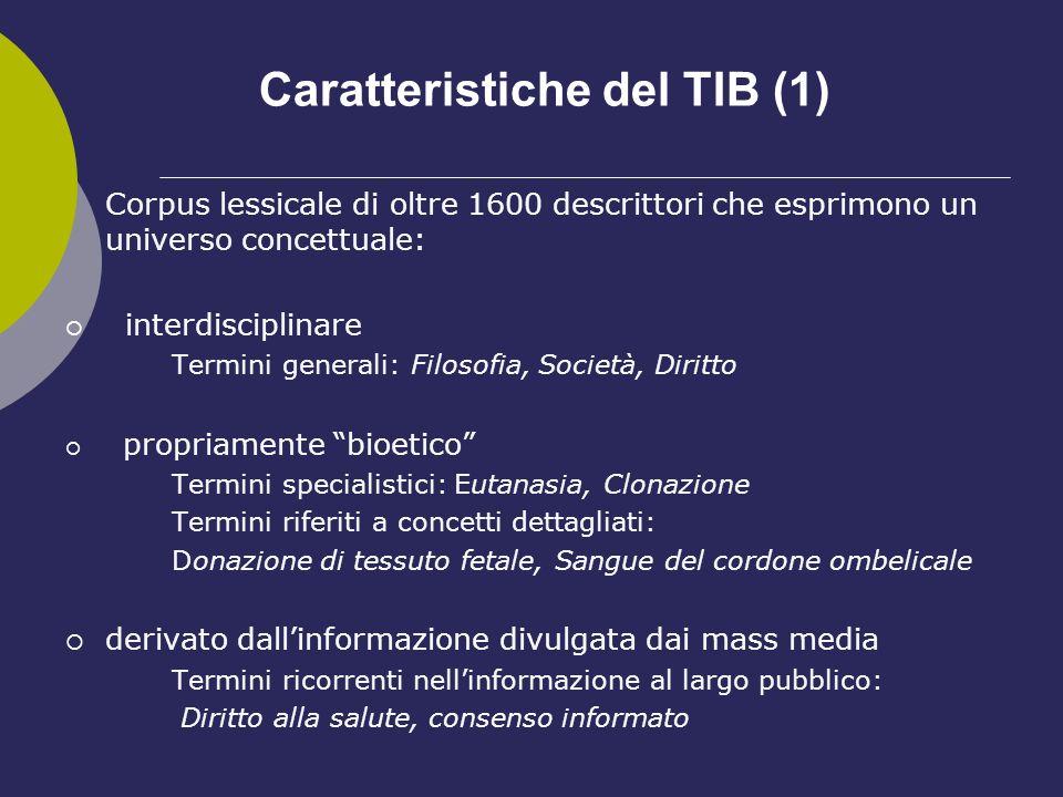 Caratteristiche del TIB (1) Corpus lessicale di oltre 1600 descrittori che esprimono un universo concettuale: interdisciplinare Termini generali: Filo