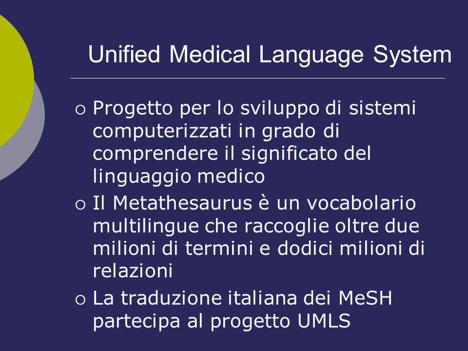 Unified Medical Language System Progetto per lo sviluppo di sistemi computerizzati in grado di comprendere il significato del linguaggio medico Il Met