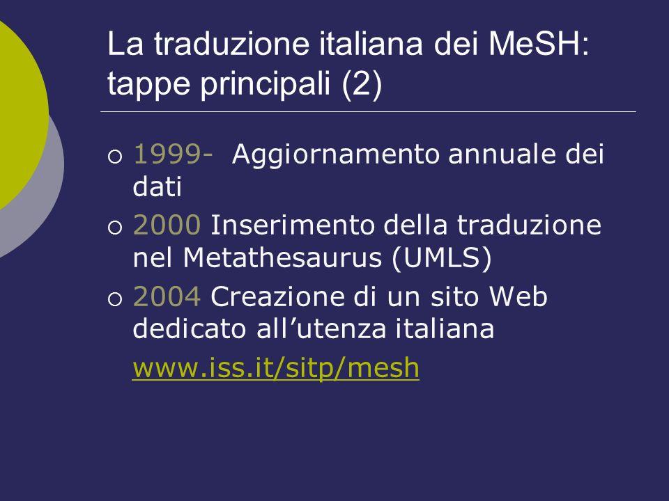 La traduzione italiana dei MeSH: tappe principali (2) 1999- Aggiornamento annuale dei dati 2000 Inserimento della traduzione nel Metathesaurus (UMLS)