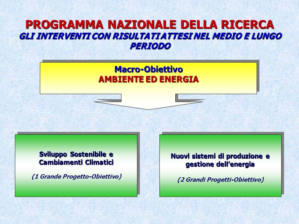 PROGRAMMA NAZIONALE DELLA RICERCA GLI INTERVENTI CON RISULTATI ATTESI NEL MEDIO E LUNGO PERIODO Macro-Obiettivo AMBIENTE ED ENERGIA Macro-Obiettivo Sviluppo Sostenibile e Cambiamenti Climatici (1 Grande Progetto-Obiettivo) Sviluppo Sostenibile e Cambiamenti Climatici (1 Grande Progetto-Obiettivo) Nuovi sistemi di produzione e gestione dellenergia (2 Grandi Progetti-Obiettivo) Nuovi sistemi di produzione e gestione dellenergia (2 Grandi Progetti-Obiettivo)