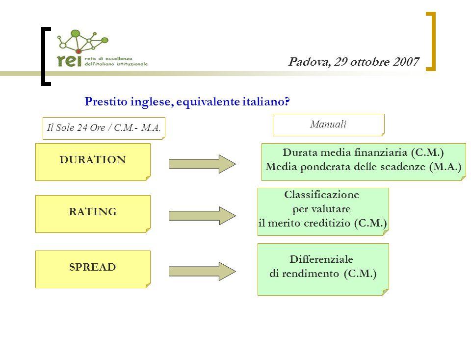 Padova, 29 ottobre 2007 RATING Classificazione per valutare il merito creditizio (C.M.) SPREAD Differenziale di rendimento (C.M.) DURATION Durata media finanziaria (C.M.) Media ponderata delle scadenze (M.A.) Prestito inglese, equivalente italiano.