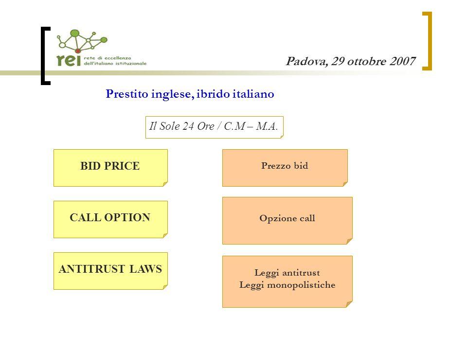 Padova, 29 ottobre 2007 CALL OPTION Opzione call ANTITRUST LAWS Leggi antitrust Leggi monopolistiche BID PRICE Prezzo bid Prestito inglese, ibrido italiano Il Sole 24 Ore / C.M – M.A.