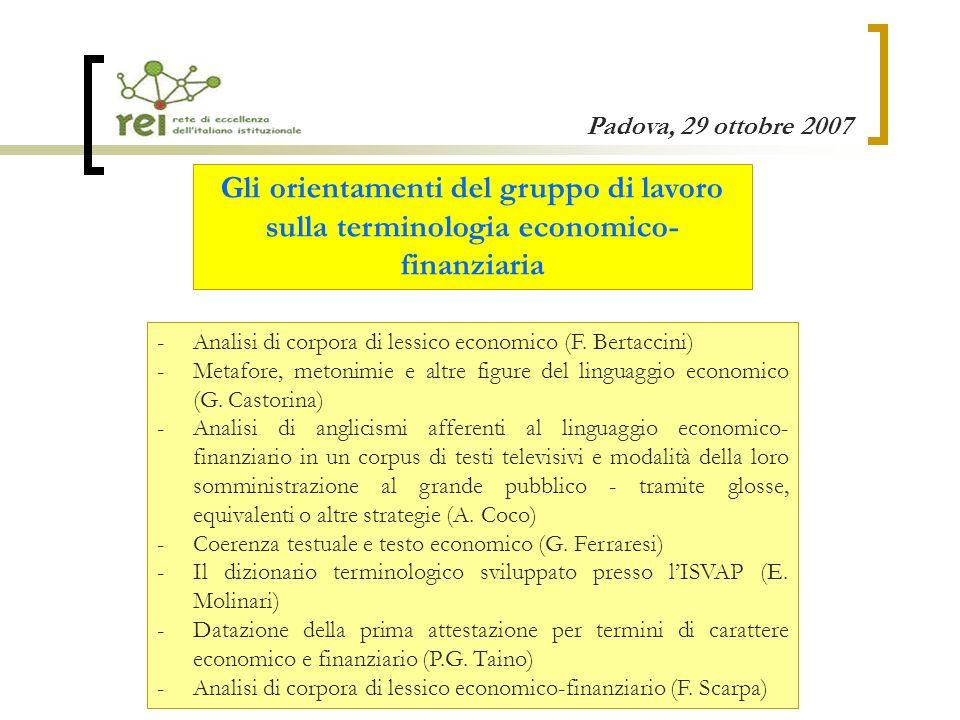 Padova, 29 ottobre 2007 Gli orientamenti del gruppo di lavoro sulla terminologia economico- finanziaria -Analisi di corpora di lessico economico (F.