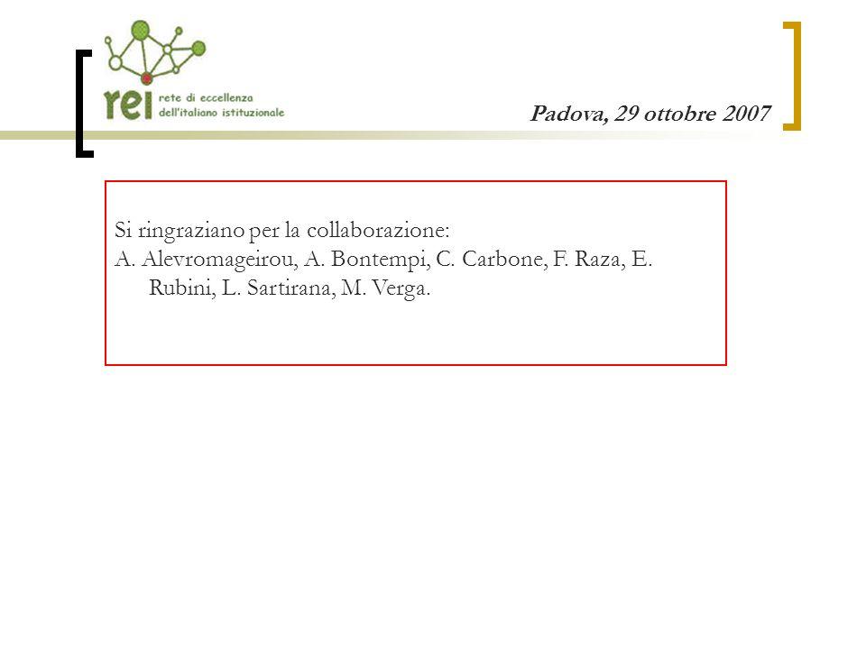 Padova, 29 ottobre 2007 Si ringraziano per la collaborazione: A.
