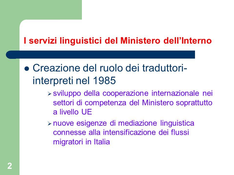2 I servizi linguistici del Ministero dellInterno Creazione del ruolo dei traduttori- interpreti nel 1985 sviluppo della cooperazione internazionale n