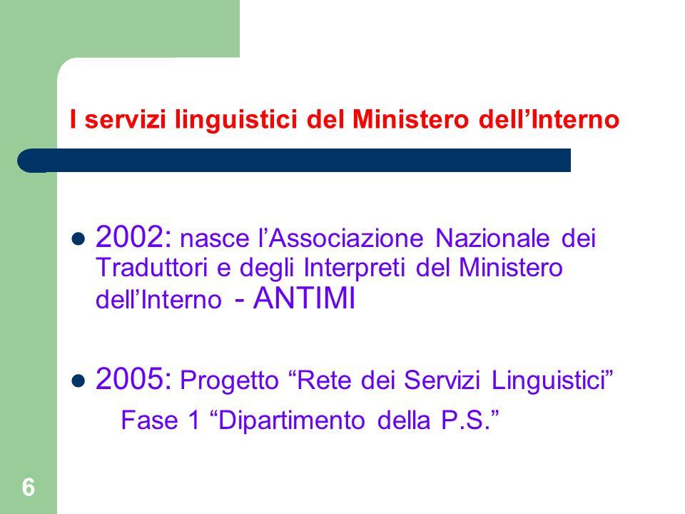 6 I servizi linguistici del Ministero dellInterno 2002: nasce lAssociazione Nazionale dei Traduttori e degli Interpreti del Ministero dellInterno - AN