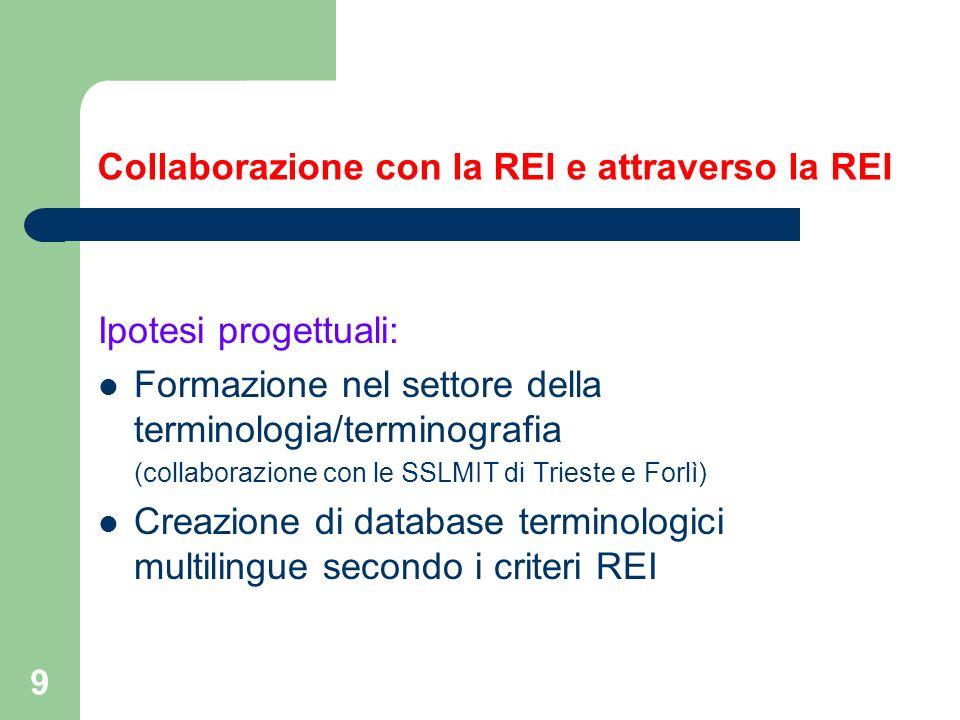 9 Collaborazione con la REI e attraverso la REI Ipotesi progettuali: Formazione nel settore della terminologia/terminografia (collaborazione con le SS