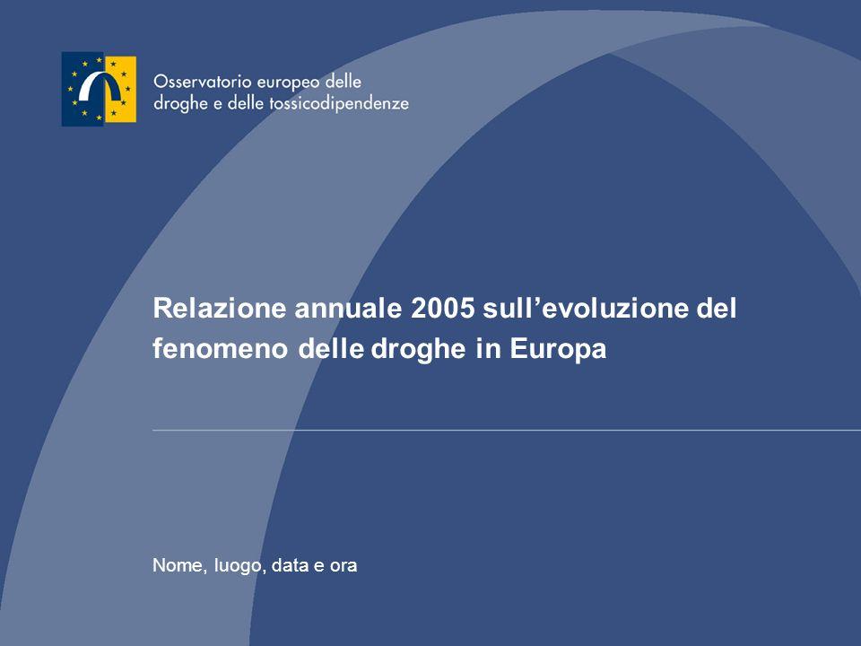 Relazione annuale 2005 sullevoluzione del fenomeno delle droghe in Europa Nome, luogo, data e ora